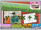 Writing Equations of Lines Slope-Intercept Form foldable, INB, practice