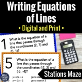 Writing Equations of Lines Activity | Digital and Print