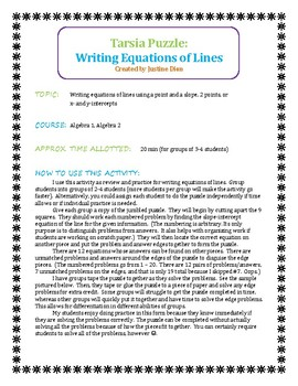 Writing Equations of Lines Tarsia Puzzle