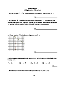 Writing Equations of Lines Test A