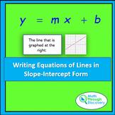 Algebra 1 - Writing Equations of Lines in Slope-Intercept Form