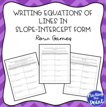 3 Writing Equations Of Lines In Slope Intercept Form Row Games Tpt