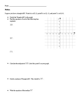 Writing Equations of Medians, Perpendicular Bisectors, and Altitudes
