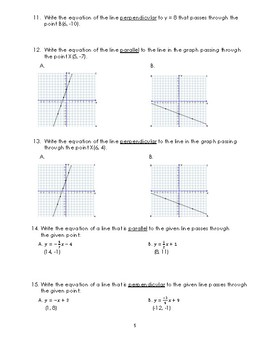 Writing Equations of Parallel & Perpendicular Lines