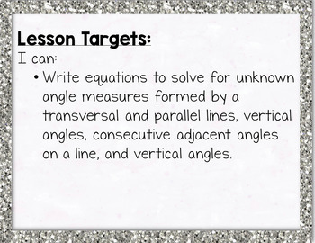Writing Equations to Solve for Unknown Angles Parallel Lines