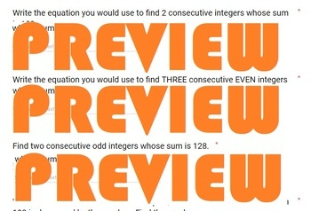 Writing Equations to find Consecutive Numbers Formative Assessment GOOGLE FORM