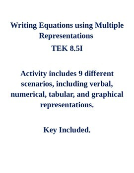 Writing Equations using Multiple Representations TEK 8.5I