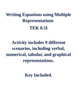 Writing Equations using Multiple Representations TEK 8.5I