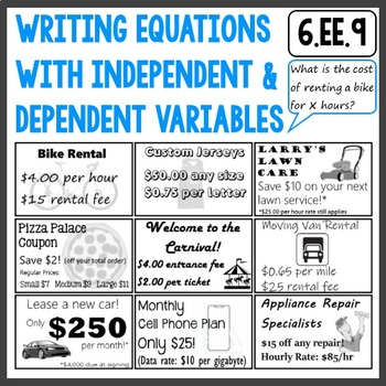 Writing Equations with Independent and Dependent Variables 6.EE.9