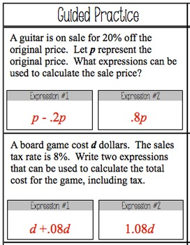 Expressions and Percents - Worksheet (7.EE.2)