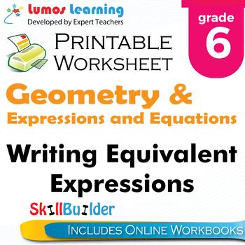 Writing Equivalent Expressions Printable Worksheet, Grade 6