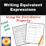 Writing Equivalent Expressions Using the Distributive Property Worksheets