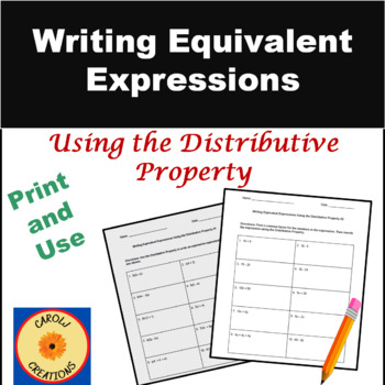 Factoring Distributive Property Worksheet | Teachers Pay Teachers