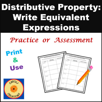 Writing Equivalent Expressions Worksheets By Carol Weiss Tpt