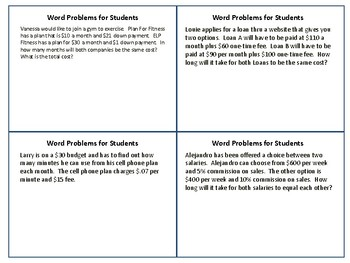 Solving Equations and Inequalities with Word Problems