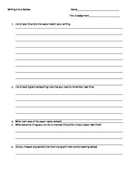 Writing Error Self Review Sheet