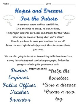 Writing Project: Hopes and Dreams for the Future