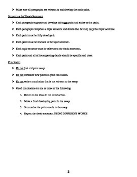 Writing Essays: Basic Steps with Interactive Exercise and Key