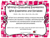 Writing & Evaluating Expressions with Exponents & Variables Task Cards 6.EE.A -B