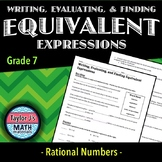 Writing, Evaluating, and Finding Equivalent Expressions Worksheet