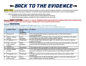 "Writing Evidence Generator ""Back to the Evidence!"""
