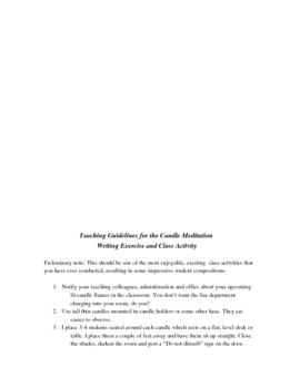 Writing Exercise & Activity  CANDLE FLAME MEDITATION