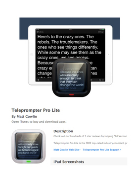 Writing Exercises to use with the TELEPROMPTER PRO LITE APP