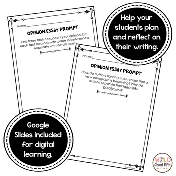 Opinion Essay Writing Exit Slips - Grades 3-6