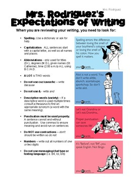 Writing Expectations