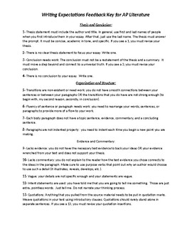 Writing Expectations Feedback Key for AP Literature Essays