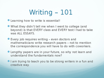 Writing Expectations Powerpoint
