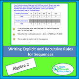Algebra 2 - Writing Explicit and Recursive Rules  for Sequences