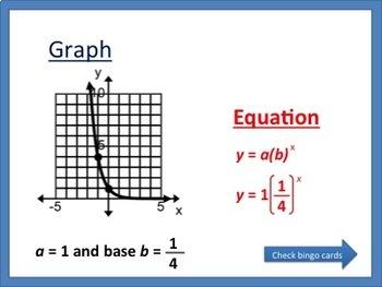 Writing Exponential Equations Bingo