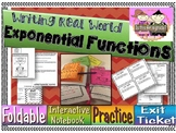 Writing Exponential Functions in the Real World: Foldable, INB, Practice, Exit