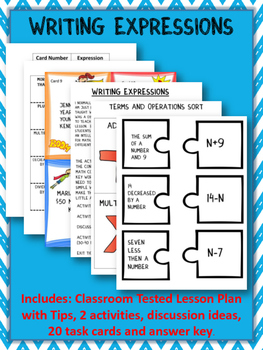 Writing Algebraic Expressions:Graphic Organizer-Foldable with Task Cards
