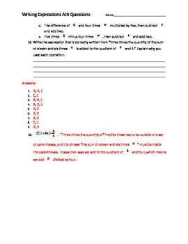 Writing Expressions AIR EOC Questions