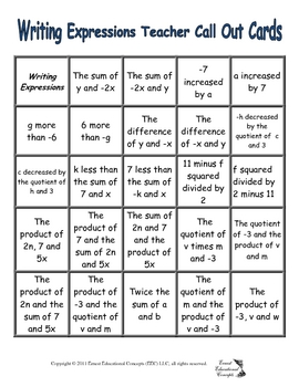 Writing Expressions Bingo