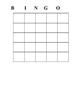 Writing Expressions Bingo