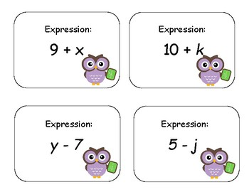Writing Expressions Card Activity