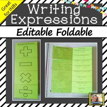 Writing Expressions Editable Foldable