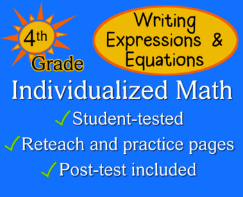 Writing Expressions & Equations, 4th grade - worksheets ...