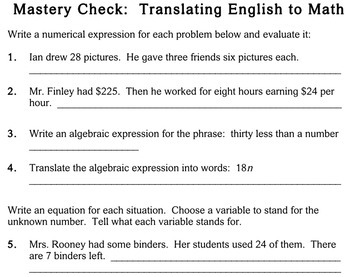Writing Expressions & Equations, 5th grade - worksheets - Individualized Math