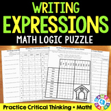 Order of Operations: Writing Expressions From Words Logic Puzzle {5.OA.2}