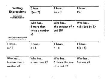 """Writing Expressions """"I have, Who has"""""""