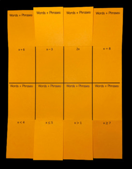 Writing Expressions & Inequalities (Foldable)