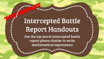 Writing Expressions/Multiplying Fractions Battle Report Handouts (Boot Camp)