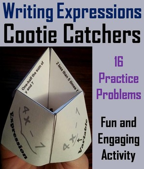 Writing Algebraic Expressions Practice Game 5th 6th 7th Grade