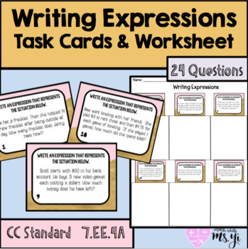Writing Expressions with Variables Task Card and Worksheet (24Q+AnswerKey)