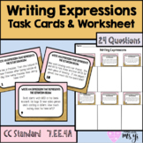Writing Expressions with Variables TskCd & Wksht (24Q+Key)