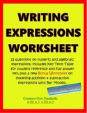 Writing Expressions Worksheet
